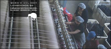 工廠中燙枕套及方巾的機器,小魚也在裡面喔!